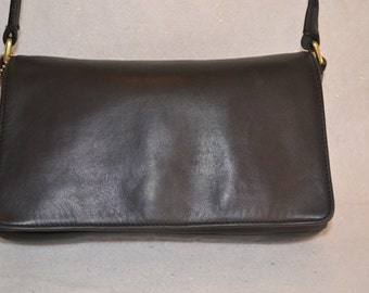 Coach Black Leather Legacy Demi Flap Shoulder Bag 9599