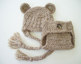 Bear Hat, Hat and Diaper Cover, Bear Ear Flap Hat, Baby Bear Hat, Ear Flap Hat, Crochet Bear Hat, Diaper Cover, Newborn Hat, Baby Hat