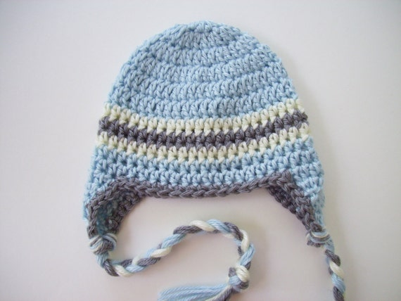 Newborn Crochet Hat Pattern With Ear Flaps : Crochet Baby Hat Baby Boy Hat Ear Flap Hat Baby by ...
