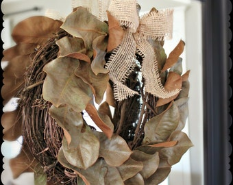 Dried Magnolia Leaf Wreath with Burlap Bow on Grapevine Wreath Rustic Nature Inspired Farmhouse Decor