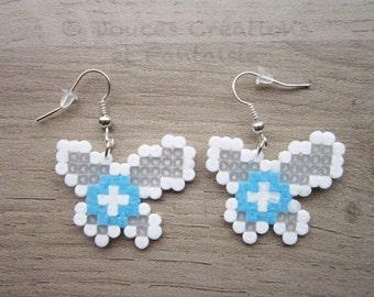 Navi Zelda Earrings Jewelry, Legend Of Zelda fairy nintendo, perler hama bead, 8-bit pixel art geek, girl woman, handmade