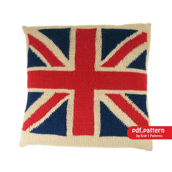 Knitting Pattern Union Jack Cushion Cover : Intarsia knit Union Jack Cushion Cover by Knit1Patterns on Etsy