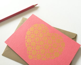 Love Stationery Set, Gold Heart, Coral Pink Notecards, Deco Stars Design (Set of 6 Cards)