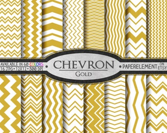 Gold Chevron Digital Paper Pack - Instant Download - Digital Scrapbook Paper with Chevron Stripe