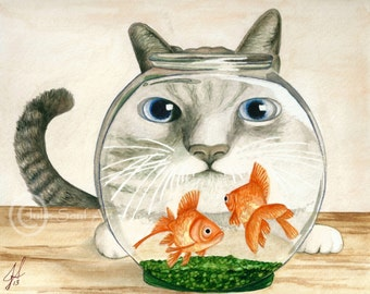 Cat Bowl Watercolor Painting Print