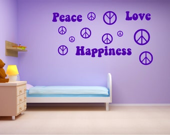 Peace Love and Happiness, 20 Peace sign decals and Peace Love and Happiness, choose your color