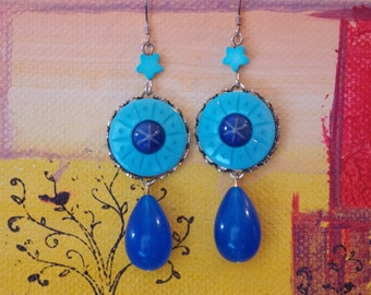 Vintage Component VanGogh Inspired Starry Night Blue earrings- Stargazers' Delight earrings