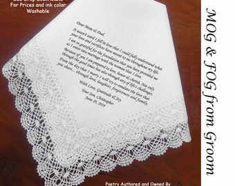Mother and Father of the Groom Gift Wedding Hankie & Poem 0809 Sign and Date  5 Wedding Hankie Styles and 8 Ink Colors.