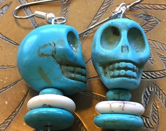 Skully earrings.  Turquoise and white howlite stone skulls and discs