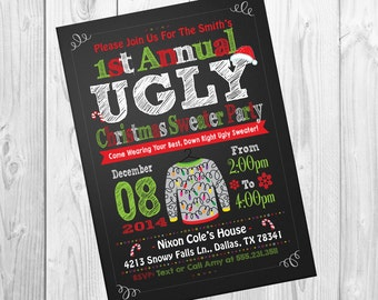 Ugly Tacky Sweater Christmas Party Invitation Invites Chalkboard Custom & Personalized