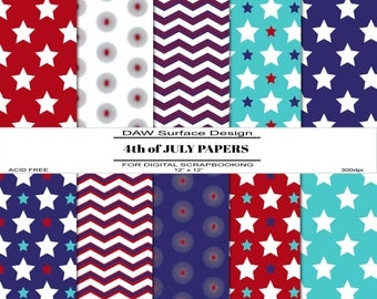 4th of July Scrapbook Papers, Premade Pages, Instant Download