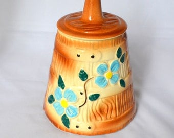 Vintage American Bisque Cookie Jar, Butter Churn with Blue Flowers, Beautiful Condition