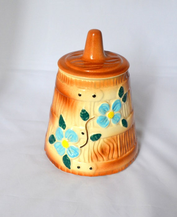 Vintage American Bisque Cookie Jar Butter Churn With Blue