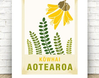 Kowhai illustration.  A3/A4 print – New Zealand native flower series.