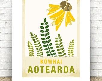 Kowhai illustration.  A3/A4 print – New Zealand native flower series.