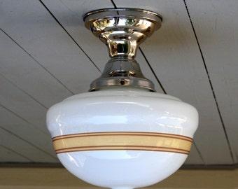 "Vintage, school house, flush mount, 4"" fitter size, single ceiling light."
