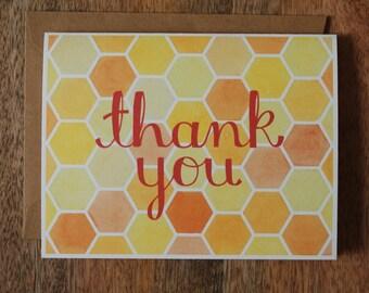 Thank You Card - Hexagon Watercolor