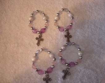 Bead and Cross Charm Napkin Rings