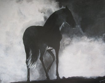 Original acrylic horse painting on canvas 65x54cm