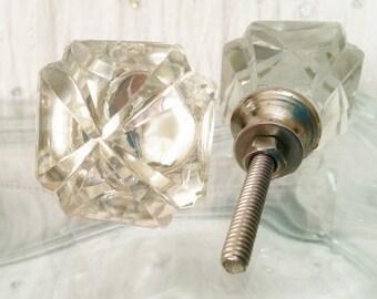 New 2 Square Clear Cut Glass Knobs Art Deco Retro
