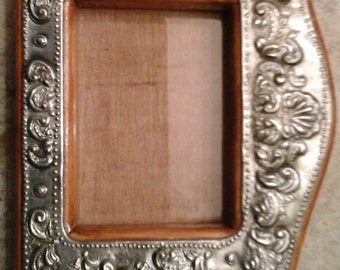 Wood Pewter Embossed Picture Frame