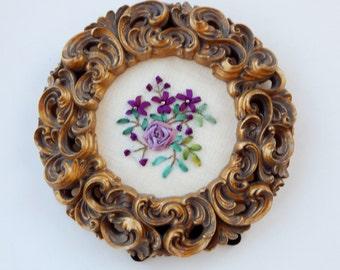"Handstitched & Framed (3-1/2"" inside) Silk Ribbon Embroidery - Flower Spray with Rose"