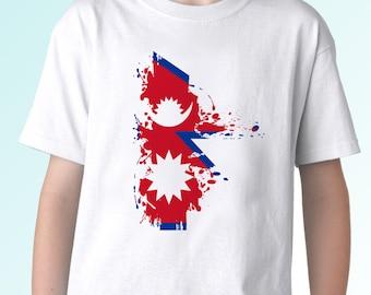 Nepal flag -  new white t shirt flag design - mens womens kids & baby sizes