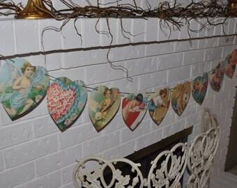 Handmade Paper Angel Bunting Banner, Hearts, Wedding Prop, Photo Prop, Baby Shower