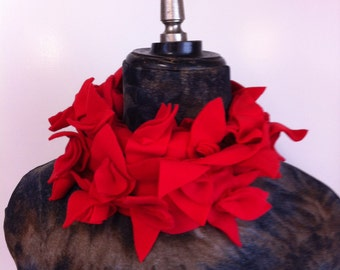 Fleece scarf red