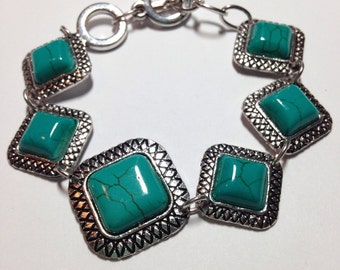Classic Square Turquoise Stone And Tibetan Silver Bracelet