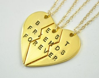 Best Friends forever necklace sets, Three sisters necklaces, best friendship necklace, friendship gift, best friends jewelry