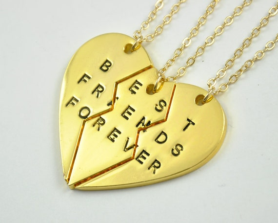 Best Friends forever necklace sets  Three sisters necklaces  best    Three Best Friends Forever Necklace