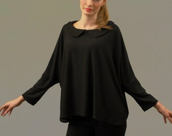 55% off sale, One size, Black collared, fine merino wool jersey Top