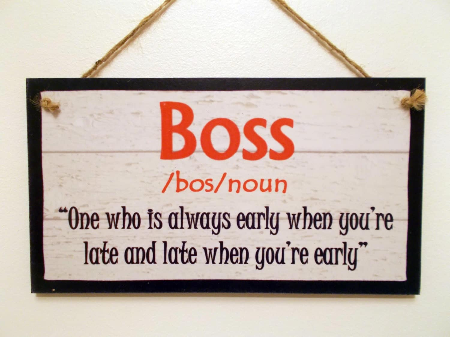 Wooden sign plaque definition boss funny work by - Plaque de finition ...
