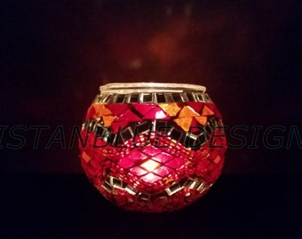 A Set Of 2 Assorted Turkısh Mosaıc Candle By Istanbluedesign