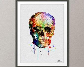 Skull poster, Skull  print, Skull painting, Skull art, Skull watercolor art, Skull decor, Skull wall hanging, watercolor painting -A082