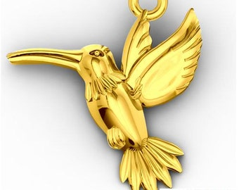Gold-plated charm Humminbird Silver 925 s-charm86
