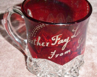 1904 Ruby Red Flash Glass Souvenir Cup ~ Esther May Land From Pa.