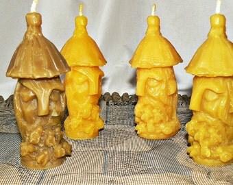 2 Natural Handmade 100% Beeswax Candles Old hive