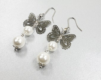 Butterfly Charm and White pearl Dangle Earrings . Bridal Earrings , Bridesmid Gift , Bridesmaid Earrings ,