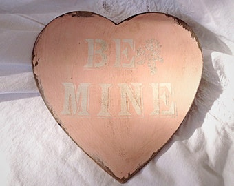 """Pink vintage style """"Be Mine"""" heart"""