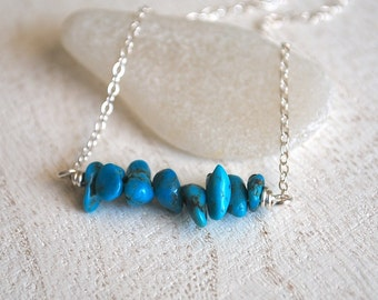 Turquoise Nugget Necklace, Silver Turquoise Necklace, Delicate Turquoise Necklace, Tiny Turquoise Nugget Sterling Silver Necklace