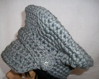 BRIM HAT Gray with Crochet Buttons & Strap BHCB44
