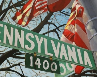 "Original acrylic painting on canvas, titled ""Pennsylvania Ave"", 12""x24"", DC art, DC painting, washington DC painting"