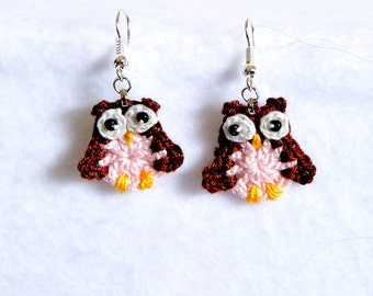 Birthstone earrings with owls