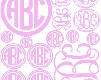 12x14 FULL variety SHEET of monogram decal stickers.  Personalize Everything! = Reg. price 49.00