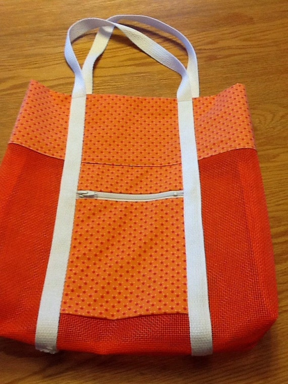 mesh bag bright orange by creatingkrafty on etsy