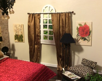1:6 Scale Dupioni Silk Drapes for Barbie, Blythe, or Fashion Royalty Diorama or Room Box