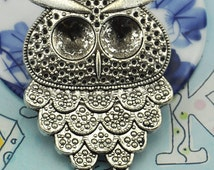 2 pcs of Antique Silver Lovely Owl Pendants Charms 36x50mm ---J201320