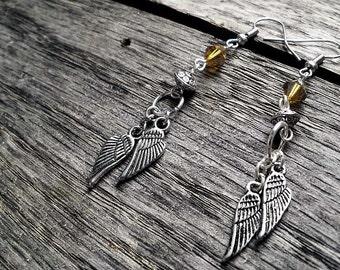 Silver BoHo Feather Earrings
